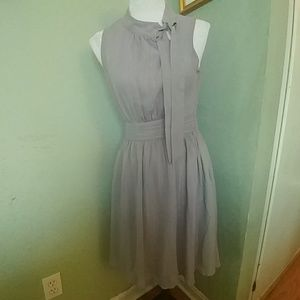 Modcloth gray sleeveless bow tie neckline dress